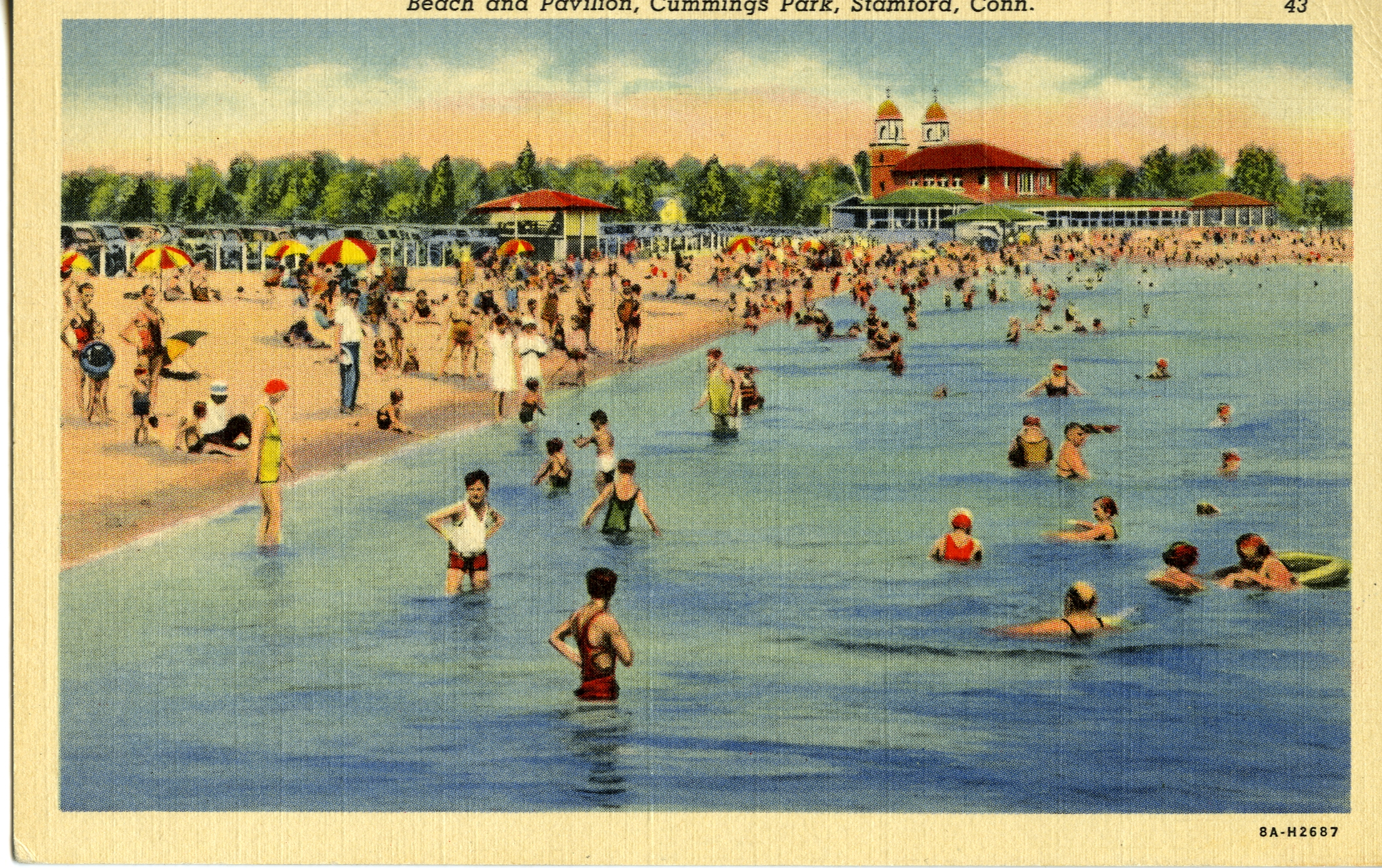 Postcard of beach and pavilion at Cummings Park