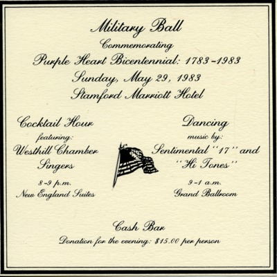 Invitation to Military Ball Commemorating the Purple Heart Bicentennial