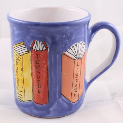 Mug commemorating the 25th anniversary of the Friends of the Ferguson Library