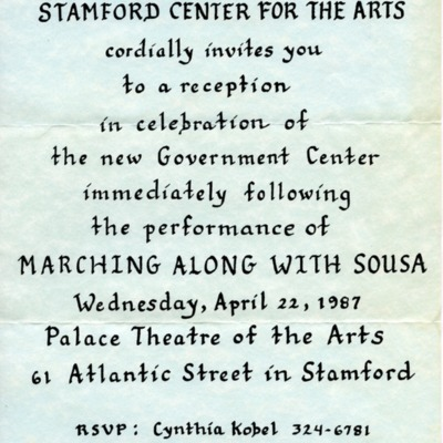 Stamford Center for the Arts Invitation to Stamford Government Center Opening Reception
