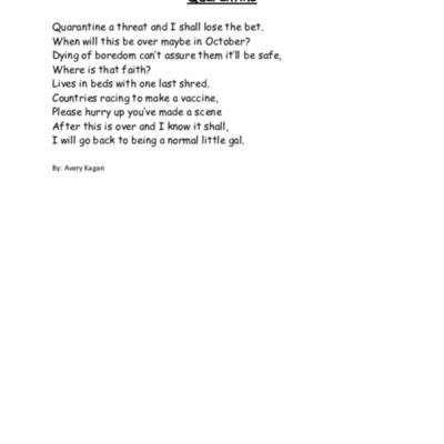 A quarantine poem