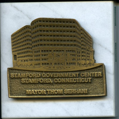 Plaque commemorating the opening of the Stamford Government Center