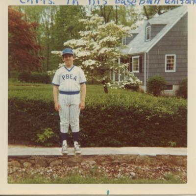 Chris Sinatra in his Little League baseball uniform