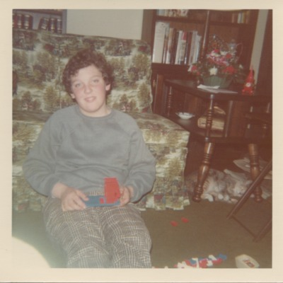 Chris Sinatra with toy building blocks at Christmas