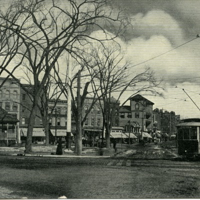 Stamford, Connecticut postcard of Central Park at Atlantic and Main Streets