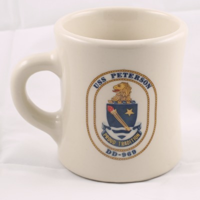 Mug from the USS Peterson when it visited Stamford Harbor
