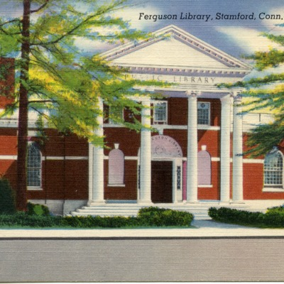 Postcard showing The Ferguson Library in Stamford, Connecticut