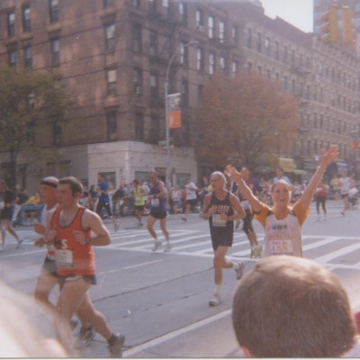 Natalia Metwally running in the 2005 New York Marathon