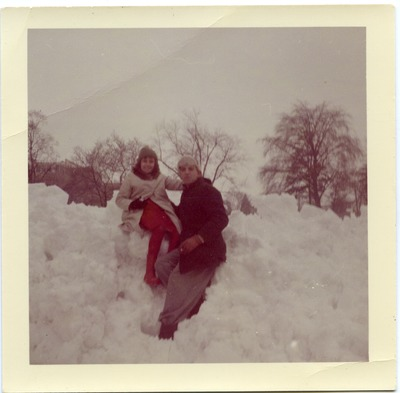 Miriam Arrango posing with her father in the snow
