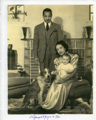 Drs. Joseph Carwin and Joyce Yerwood with their son and dog