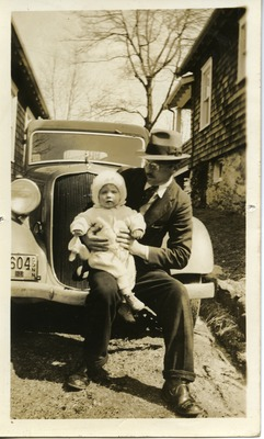 Gwen Ketchum as a baby held by her father