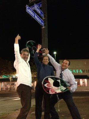 Galdino Velasco with two other men at Galdino Velasco Way