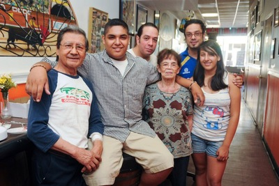 Galdino Velasco with his family at Tacos Guadalajara